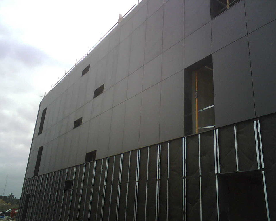 building with cladding
